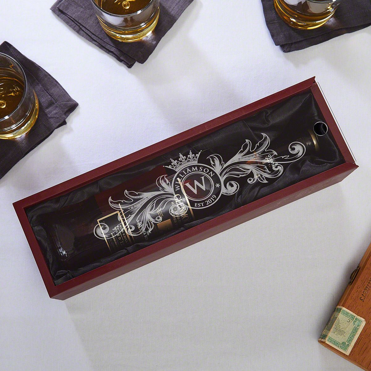 Fortescue Engraved Wooden Wine Bottle Box