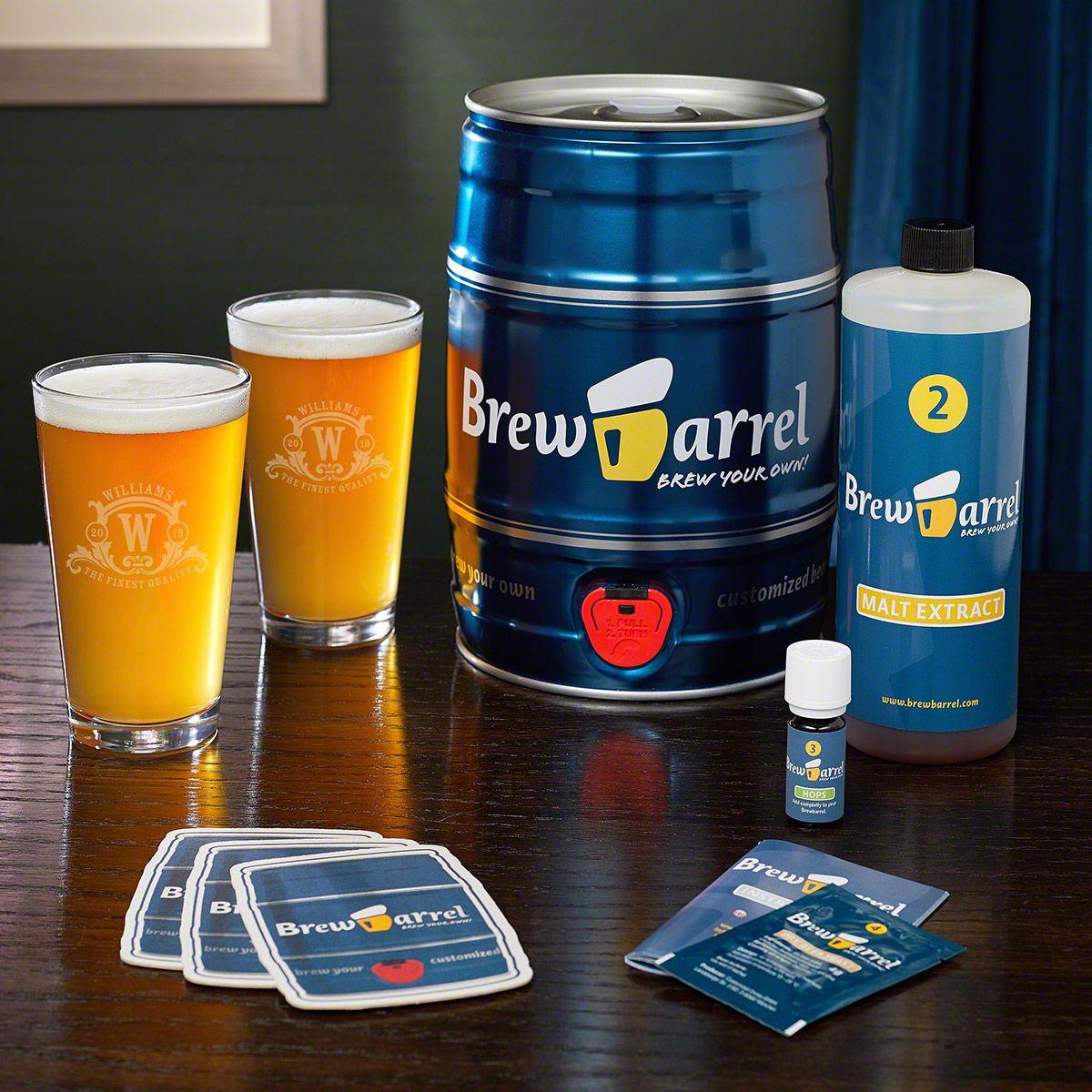Westbrook Monogram Pint Set and Brew Barrel Beer Making Kit