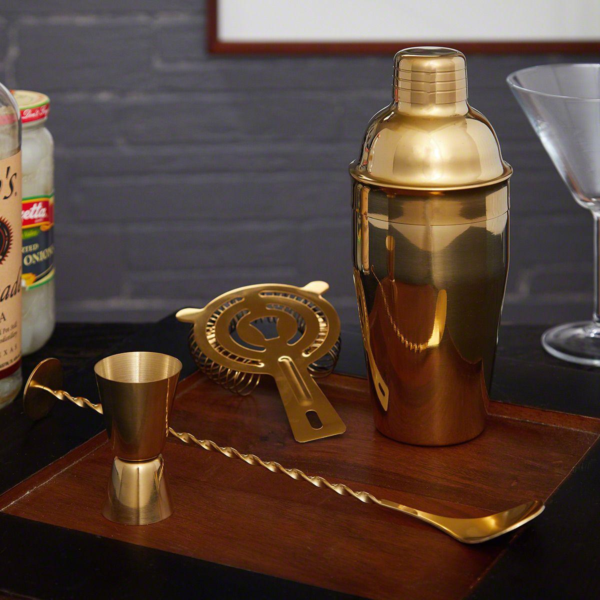 Ridgemont Gold Bar Tool Set and Cocktail Shaker (Engravable)