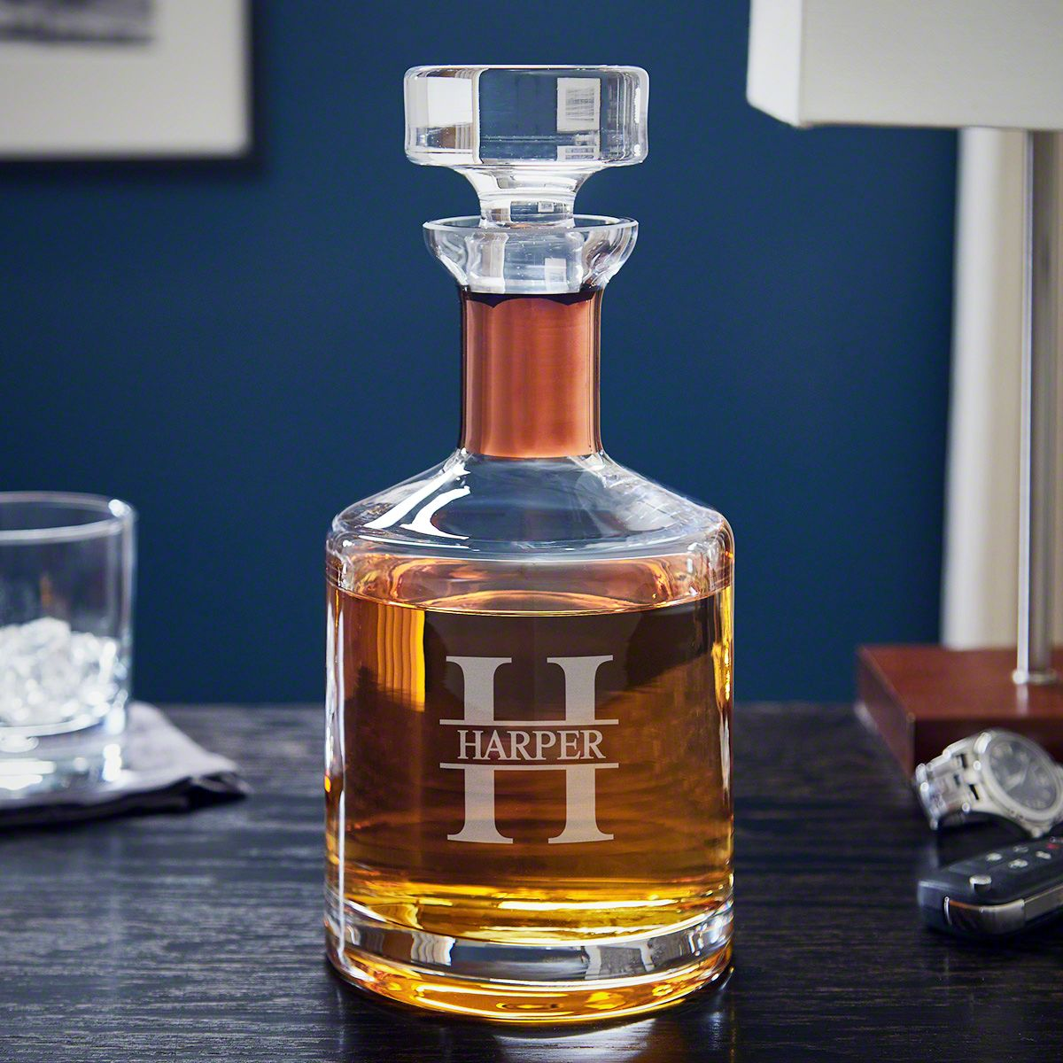 Oakmont Personalized Liquor Decanter with Copper Collar