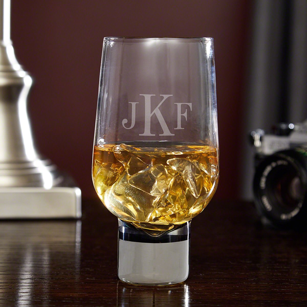 Novello Monogrammed Glass for Whiskey with Silver Stem