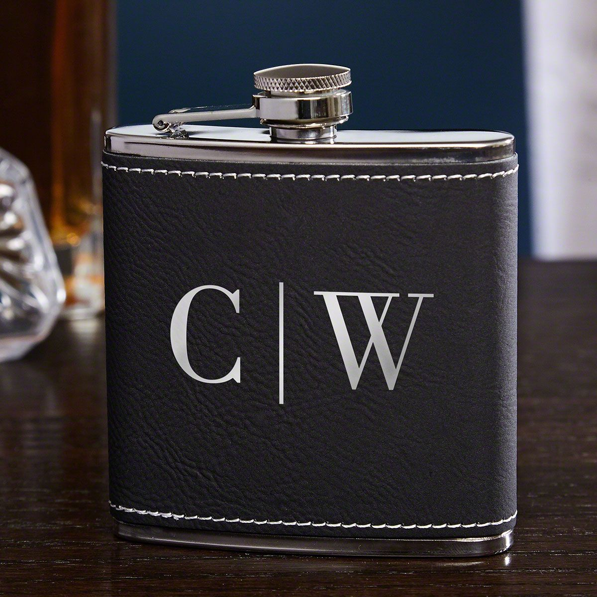 Quinton Black & Silver Personalized Hip Flask