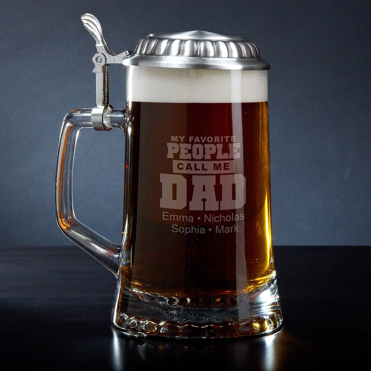 Call Me Dad Gift - Personalized Beer Mug with Pewter Lid