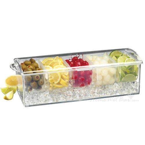 Cocktail Garnish and Condiment Tray On Ice