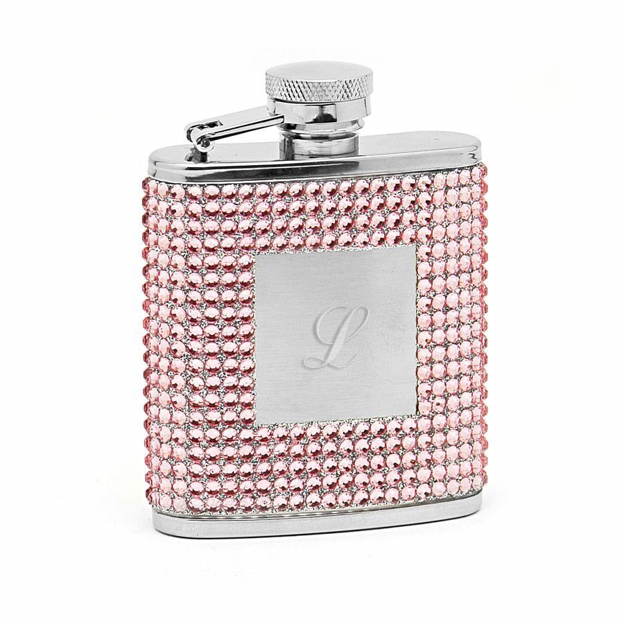 Petite Pink Crystal Pocket Flask (Engravable)