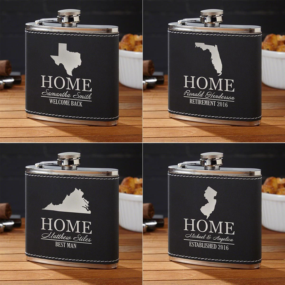 Personalized Flask with Your Home State (All 50 Avail)