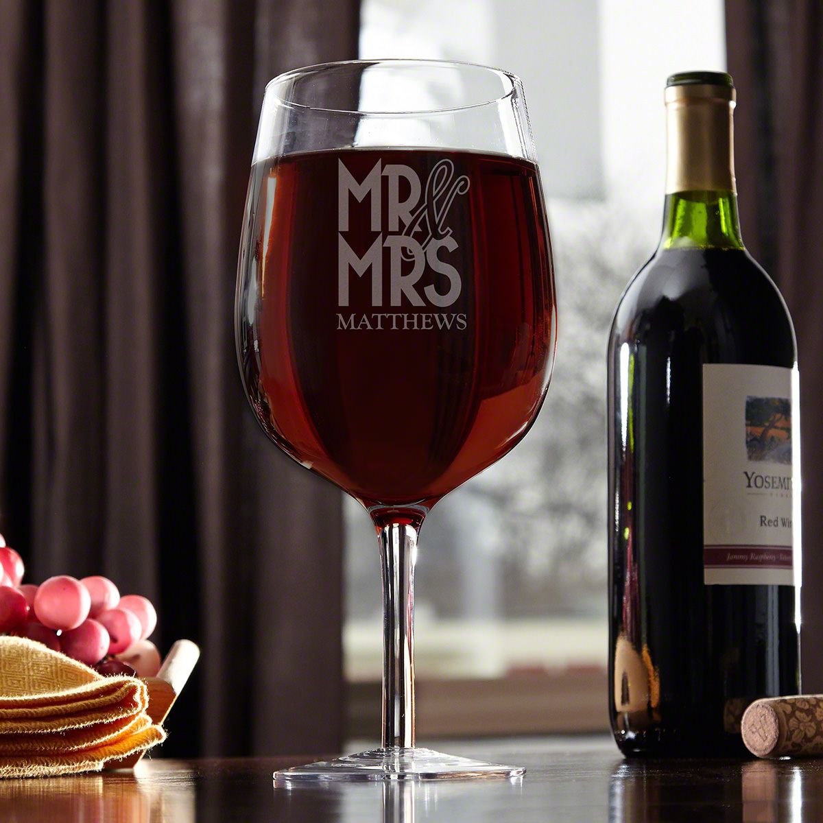 Happy Couple Personalized Giant XL Wine Glass