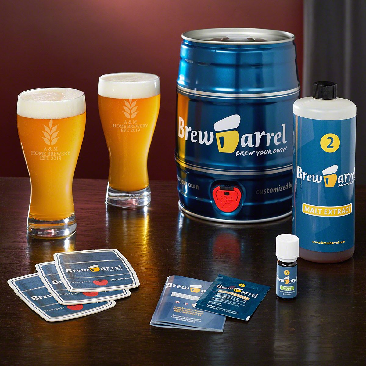 Naturally Brewed Beer Making Kit with Engraved Pilsner Glasses