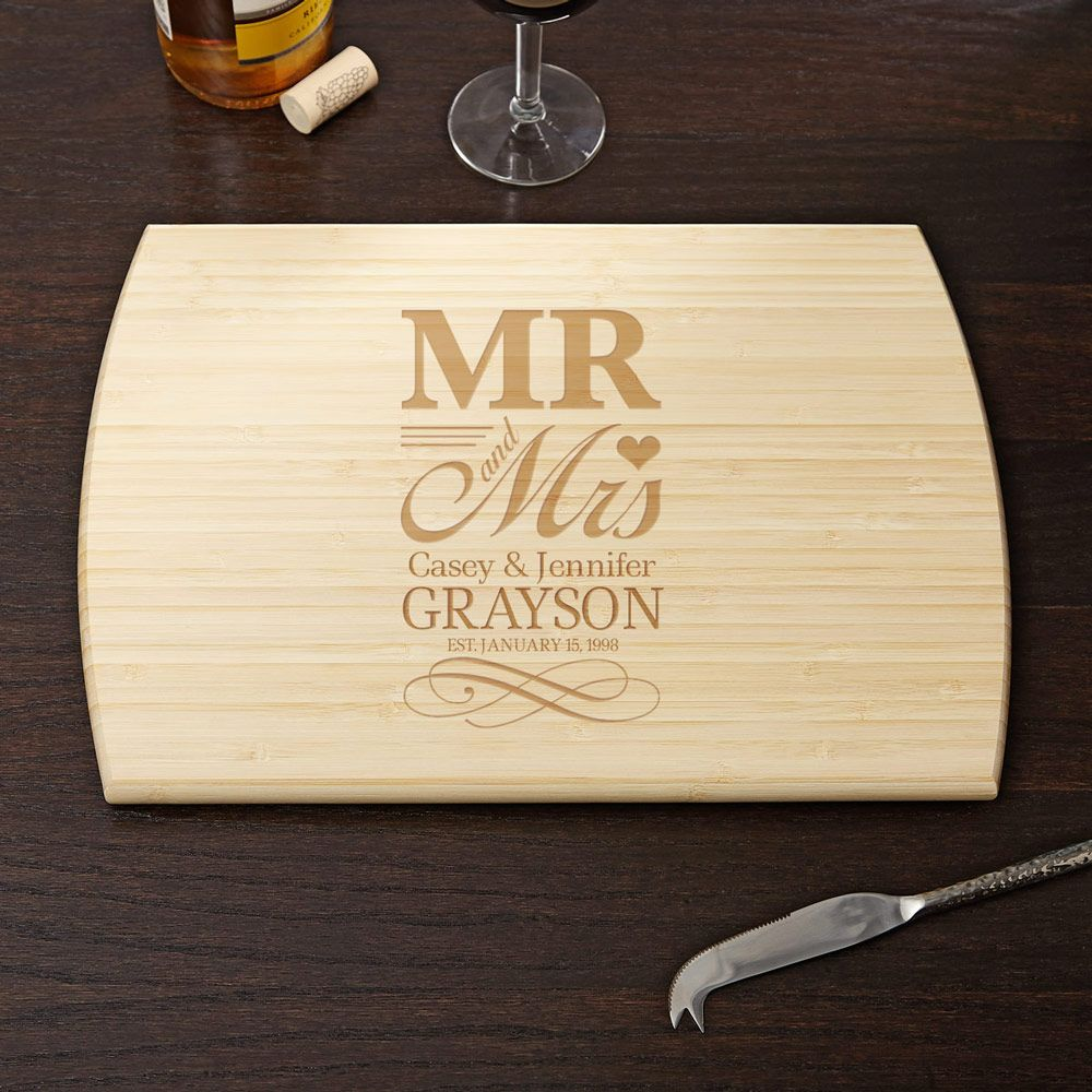 Wedding Gift For Friend Who Has Everything: Wedding Day Personalized Cutting Board, 10x14