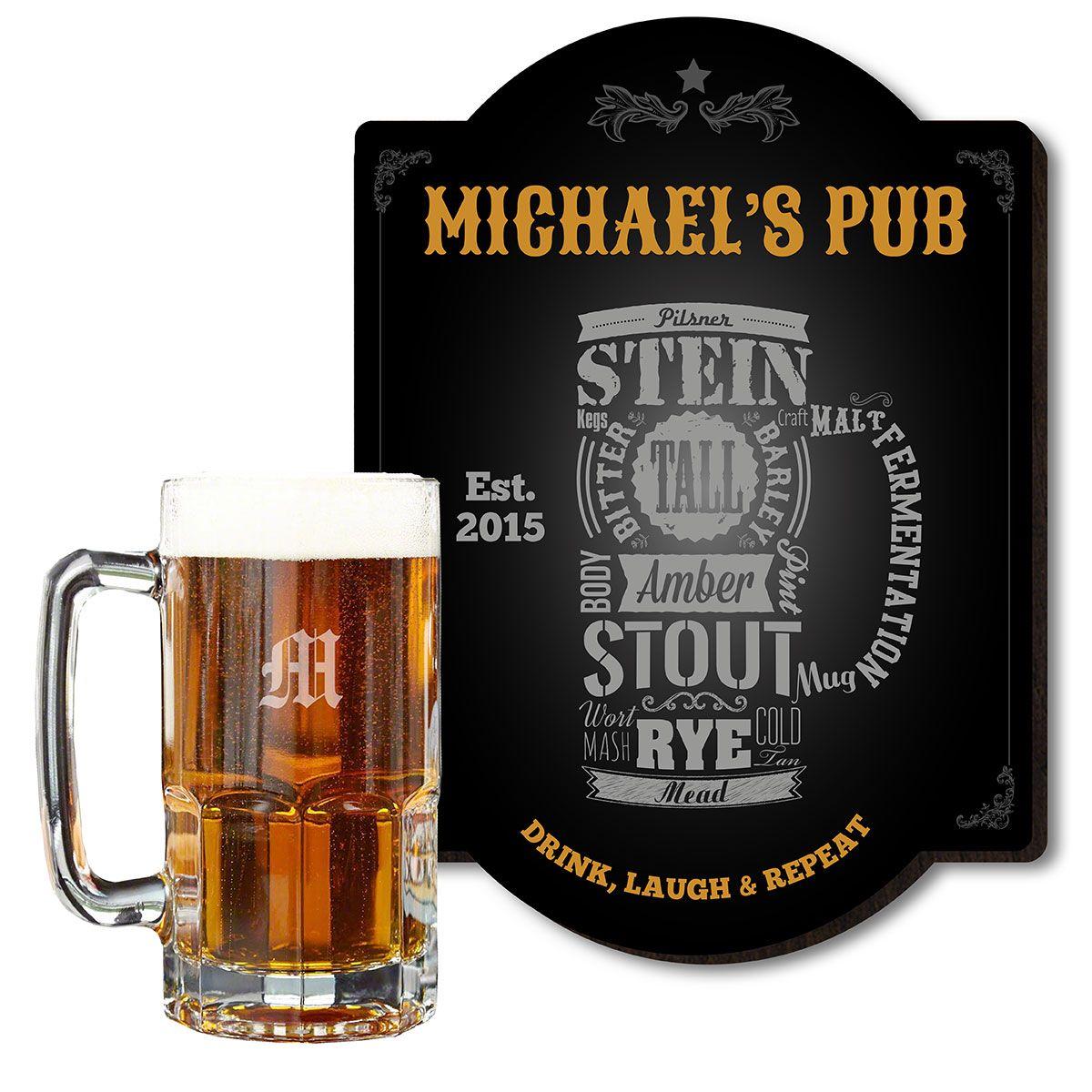 Modern Beer Bar Sign and Collossal Beer Mug