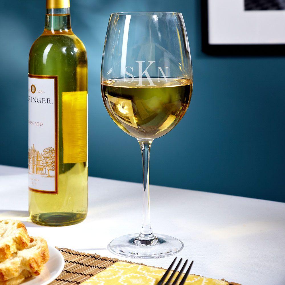 Baldovino Personalized Monogram White Wine Glass