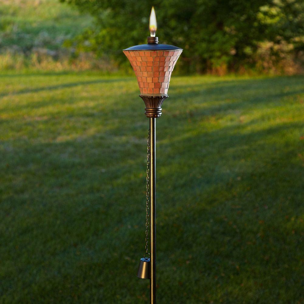 Terracotta Mosaic Garden Torch, 72-inch