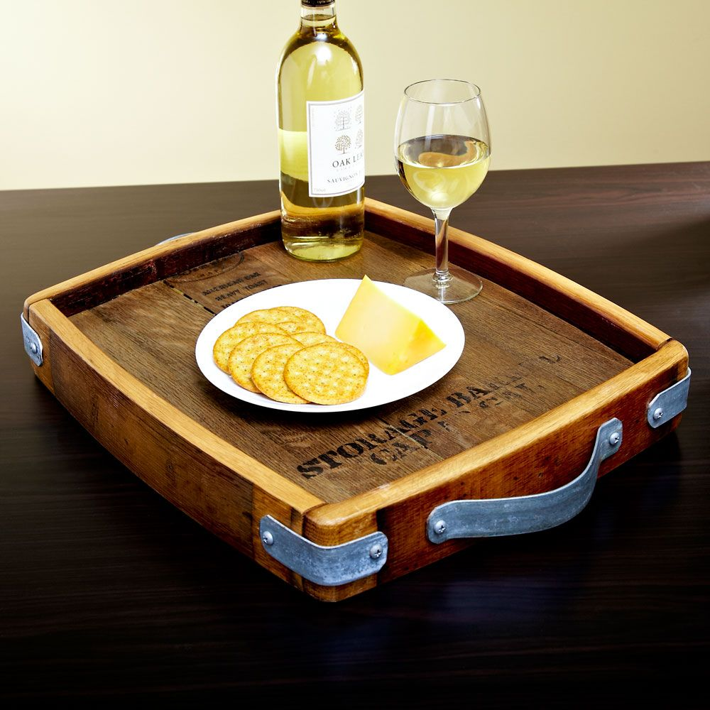 Authentic Wine Cask Wooden Serving Tray