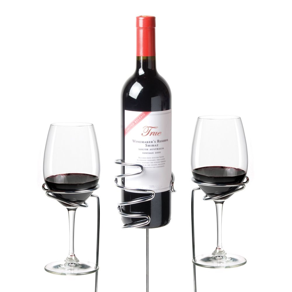 Wine Sticks Glass and Bottle Holder, 3 Piece Set