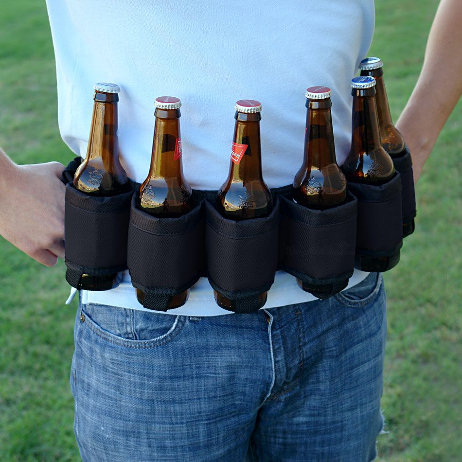 Deluxe Six-Pack Beer Belt Holster, Black