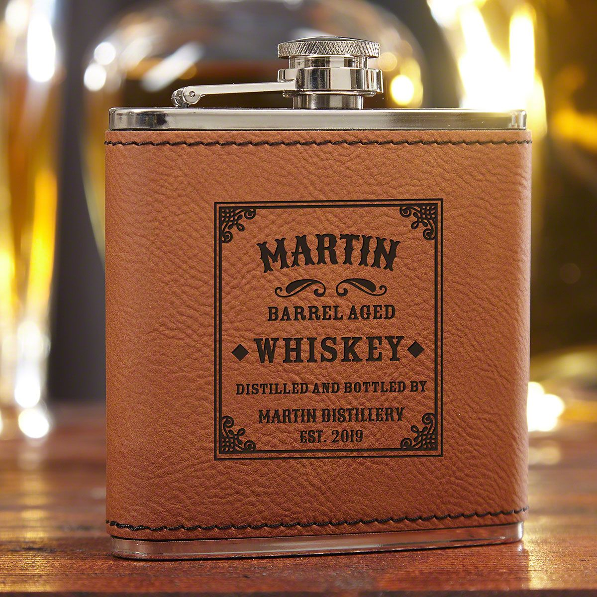 Stillhouse Saddle-Brown Personalized Whiskey Flask