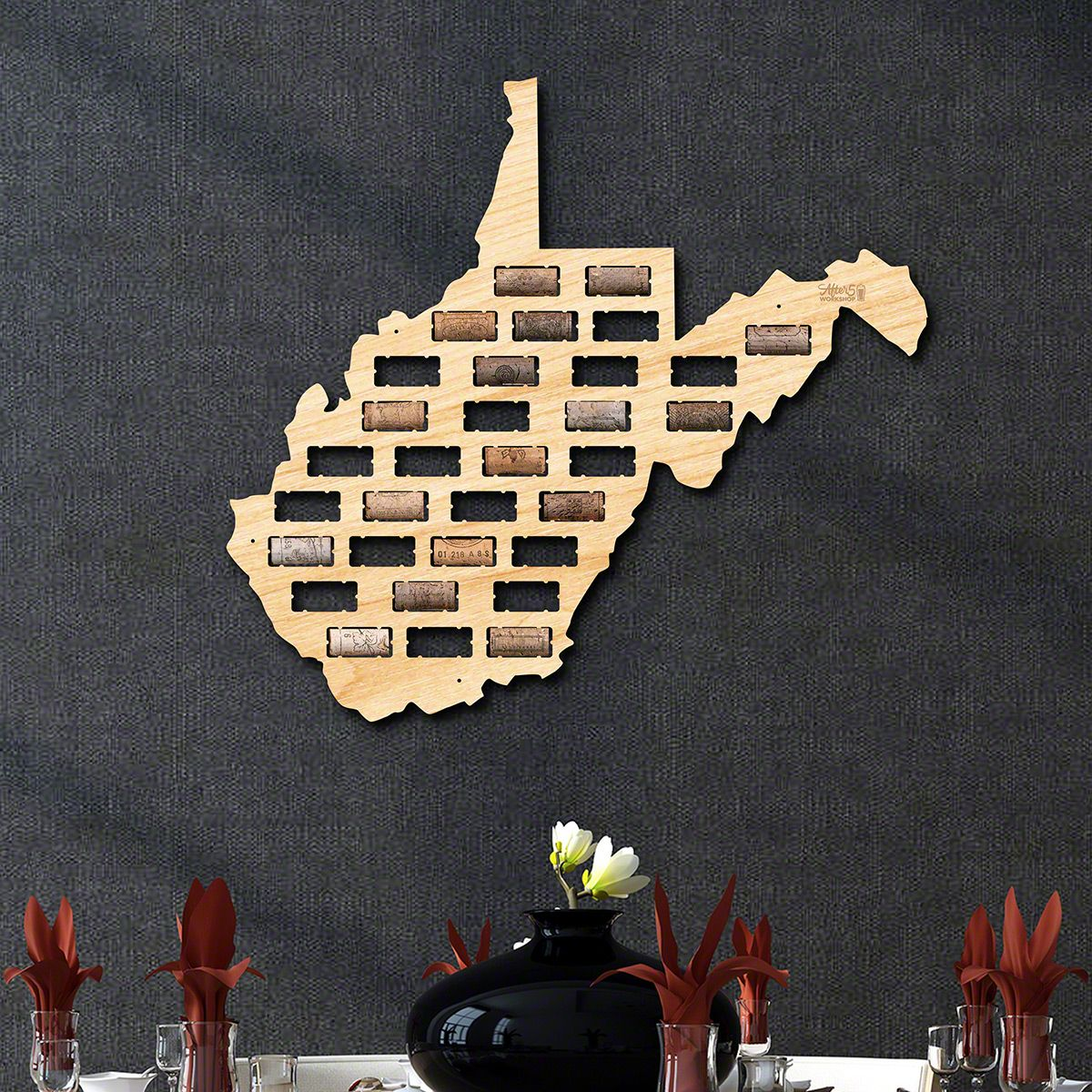 West Virginia Wine Cork Map
