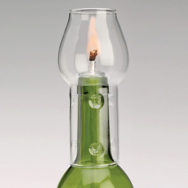 Wine Bottle Candle with Flame Protector