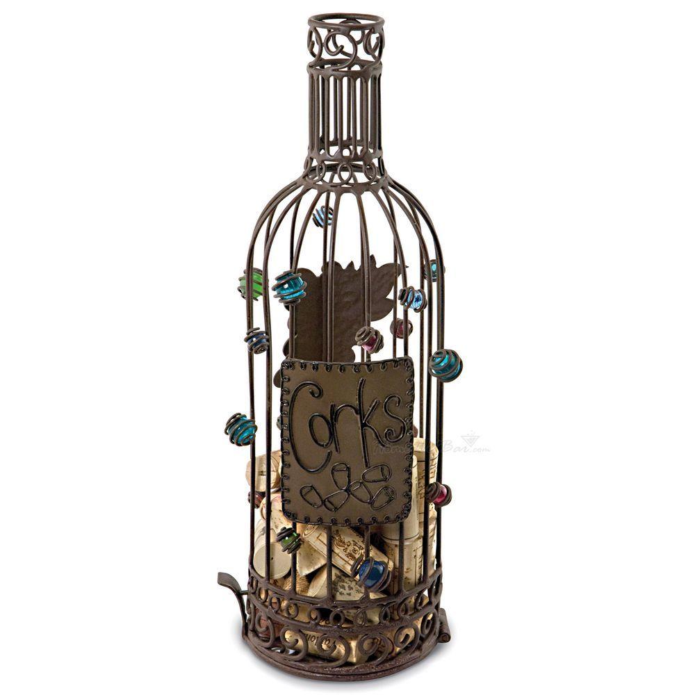 Wrought Iron Bottle Wine Cork Art Cage