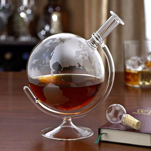 Etched World Globe Liquor Decanter