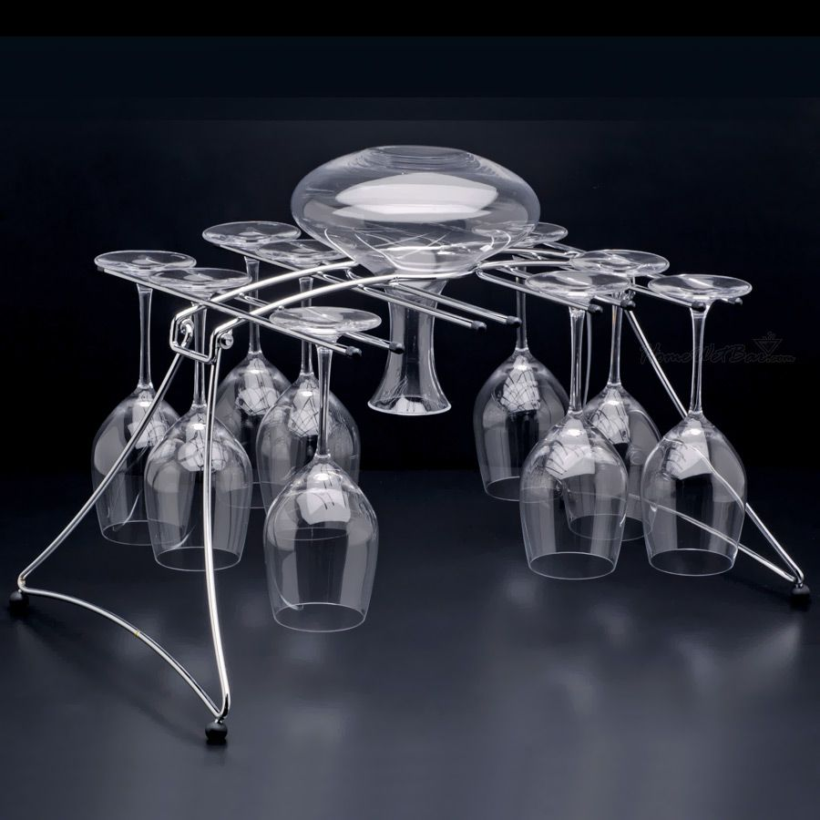 Folding Wine Glass and Decanter Drying Rack