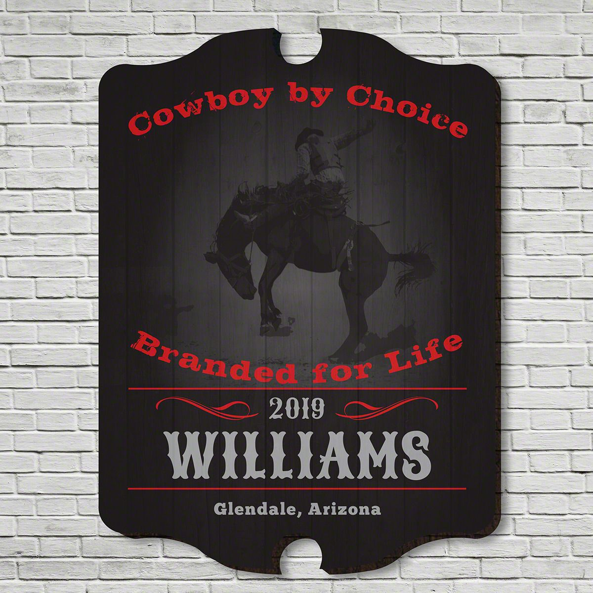 Cowboy by Choice Personalized Wooden Bar Sign