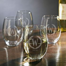 Statesman Personalized Stemless Wine Glasses, Set of 4