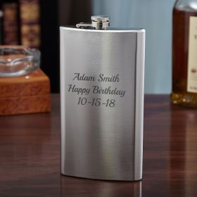 Engraved Stainless Steel Flask, 12oz