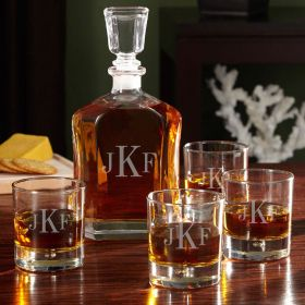 Engraved Monogram Bryne Decanter Set