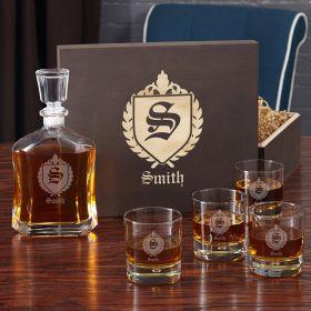 Oxford Monogram Gift Set with Engraved Whiskey Glasses