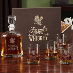 Rushmore Engraved Liquor Decanter Set