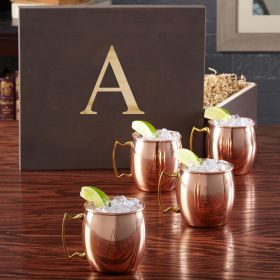 Engraved 16 oz Moscow Mule Gift Set with Wood Gift Box