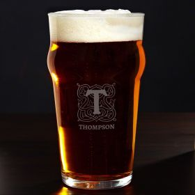 Brannon Celtic Monogram Personalized Pub Glass
