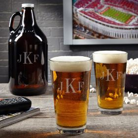 Classic Monogram Beer Growler Gift Set