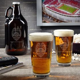 Police Badge Personalized Growler and Pint Glass Set