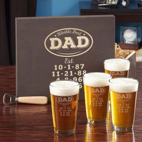 World's Best Dad Personalized Beer Glass Gift Set