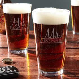 Wedded Bliss Personalized Pint Glasses Set of 2