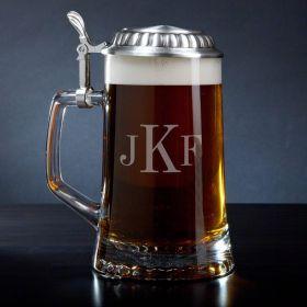 Classic Monogram European Glass Beer Stein