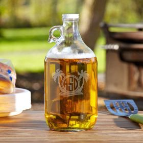 Island Breeze Personalized Clear Glass Beer Growler