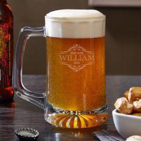 Wilshire Monogram Engraved Glass Beer Mug 13.75 oz