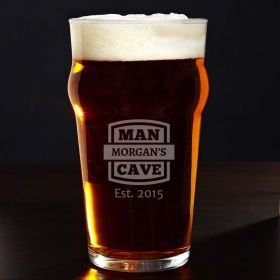 Man Cave Personalized English Pub Glass