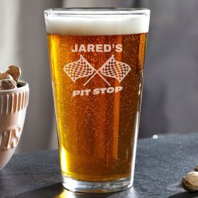 Pit Stop Personalized Pint Glass