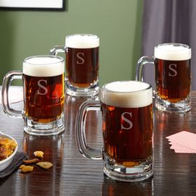 Benton Personalized Beer Mugs, Set of 4