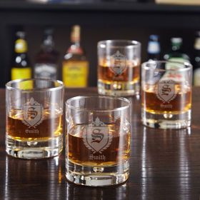 Bryne Oxford Personalized Whiskey Glasses, Set of 4