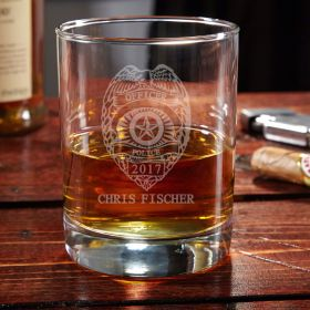 Eastham Police Badge Personalized Whiskey Glass