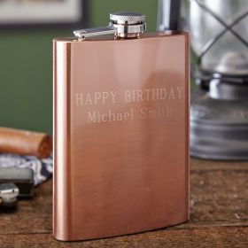 Flagstaff Copper Plated Hip Flask, 8 oz