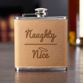 Naughty or Nice Cocoa Leather Flask