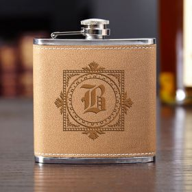 Winchester Cocoa Leather Personalized Hip Flask