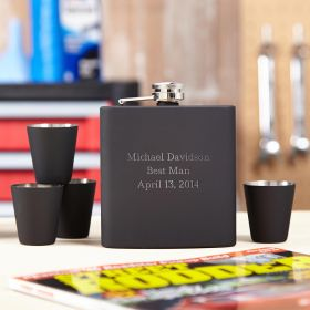 Blackout Engraved Hip Flask Gift Set