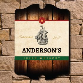 Clipper Ship Personalized Irish Whiskey Sign